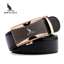 SAN VITALE Men Belts Genuine Leather Luxury Strap Male Belt for Man Homme Buckle Fancy Vintage Jeans Cintos Masculinos Ceinture
