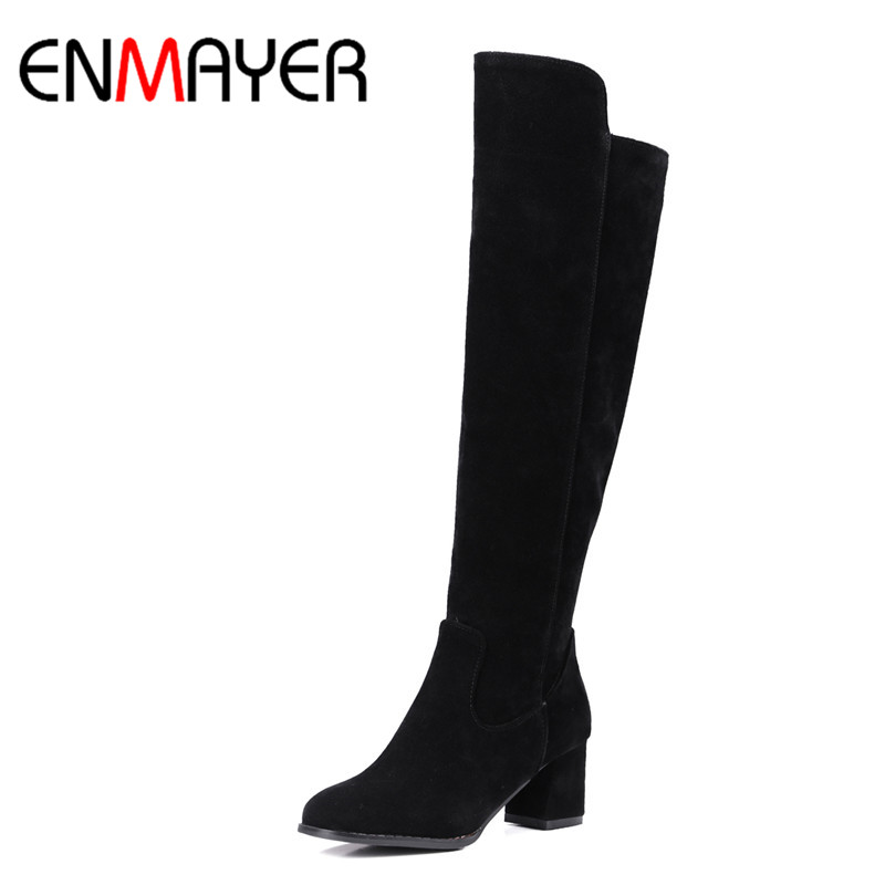 ФОТО ENMAYER New Shoes Woman Flock Winter Warm Snow Boots Short Plush Large Size 34-43 Zipper Knee-high Boots Zip Wine red Black