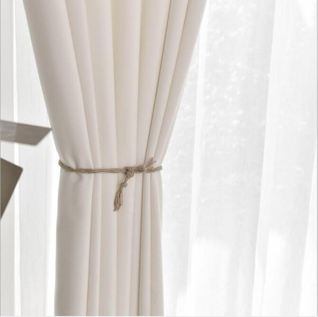 white pure thick curtain fabric translucent blind summer fresh bedroom living room window drapes french curtain zh418c