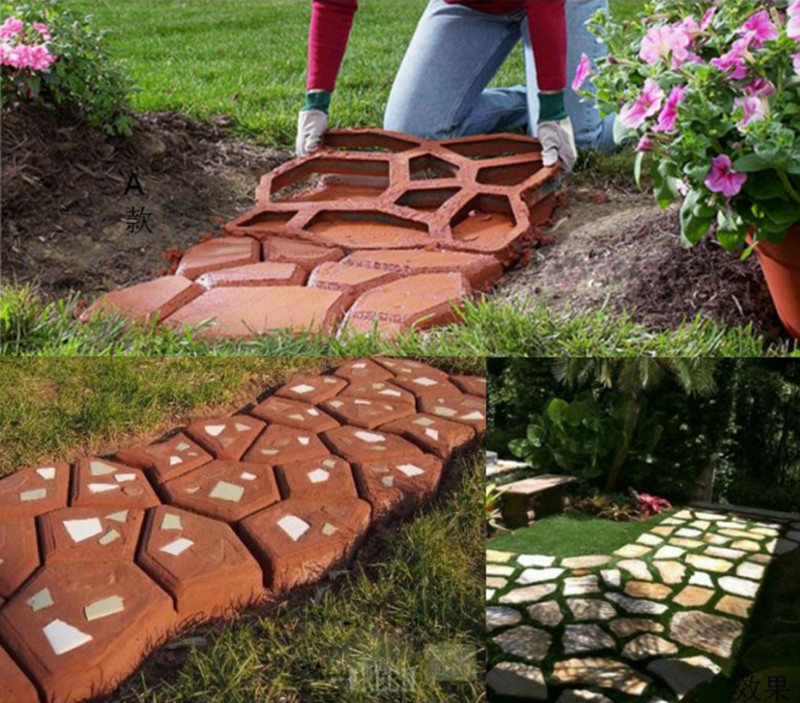 Furniture Diy Garden Concrete Paving Mold For Pavement Walkways For Garden Path Paving Mold Pathmate Shovel