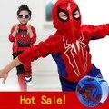 Человек-паук Дети Мальчики Одежда 3 шт./компл. пальто + жилет + брюки комплект Одежды Baby Boy Спортивные Костюмы 2-6 лет Детская Одежда Костюмы