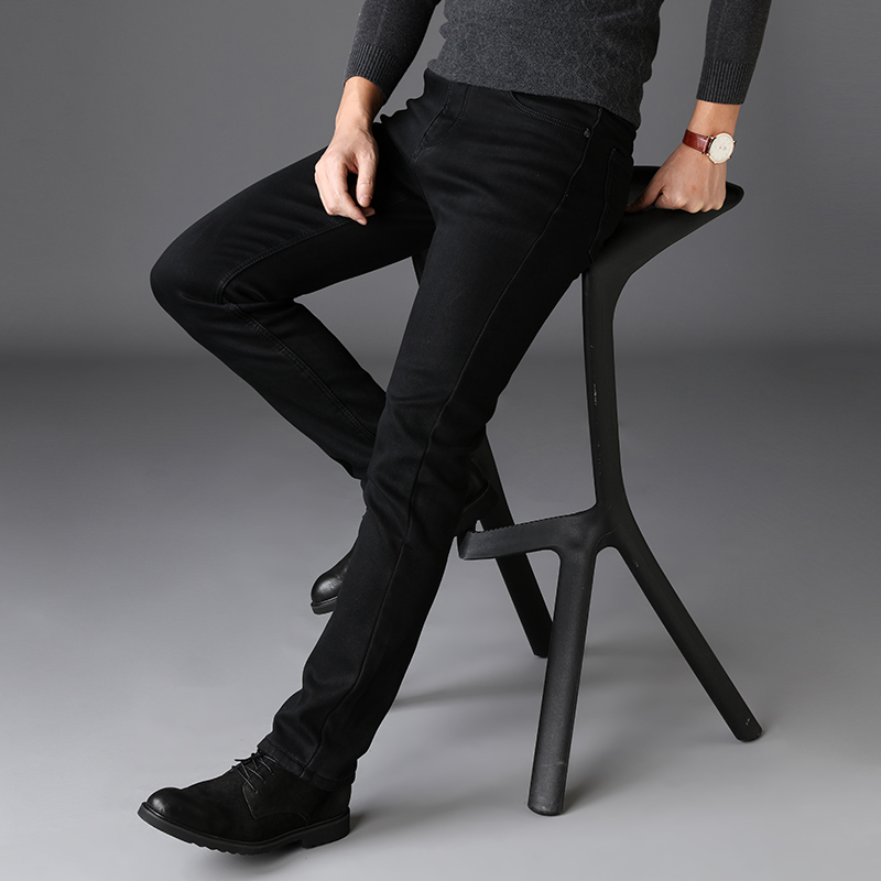 2020 New Trousers Grey Fleece Men Clothes  Black Elasticity Warm Thinker Winter Jeans Busines With Or No Velvet 2 Model Jeans 33