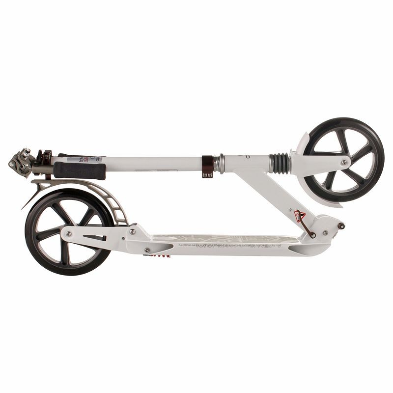 Adulte en aluminium pliant coup de pied Scooter Double Absorption des chocs Scooter 200mm diamètre roues blanc noir