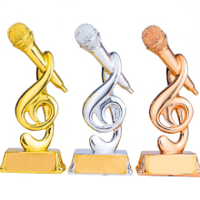 The Voice Cup Trophy 20cm(7.8 Inches) Long Customizable Music Award Microphone Shape Singing Craft Souvenirs Home Decoration tortuous star shaped metal trophy customized logo or words to crystal base video music awards grammy trophy for award ceremony