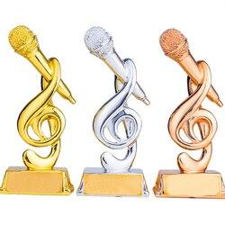 Trofeo de la Copa de voz 20cm (7,8 pulgadas) decoración Para el hogar de recuerdos artesanales con forma de micrófono de Premio Musical personalizable largo