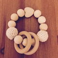 Heart Wooden Crochet Holder Eco Friendly Baby Teething Baby Shower Gift Dummy Chain Teether