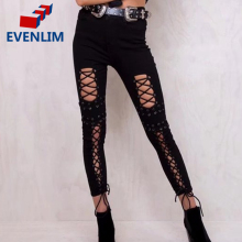 EVENLIM Black lace up jeans female 2017 Middle waist sexy pants capris leggings Skinny trousers women bottom Hollow out DRT603