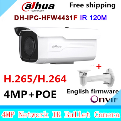 Original Dahua DH-IPC-HFW4431F 4MP Network HD WDR Small IR Bullet H265 H264 Camera CCTV IP 1080P IPC-HFW4431F with bracket dahua 4mp wdr ipc hfw4431e s h 265 fixed lens3 6mm ir40m network waterproof ip67 smart detection bullet ip camera hfw4431e s
