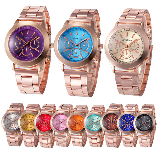 susenstone Luxury Geneva Quartz Bracelet Watch Women Men Classic Stainless Steel