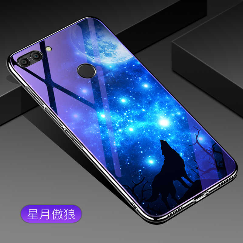For Huawei Y9 2018 case cover cartoon blue Tempered Glass back shell For Huawei Y 9 2018 phone cases For Huawei Y9 2018 coque