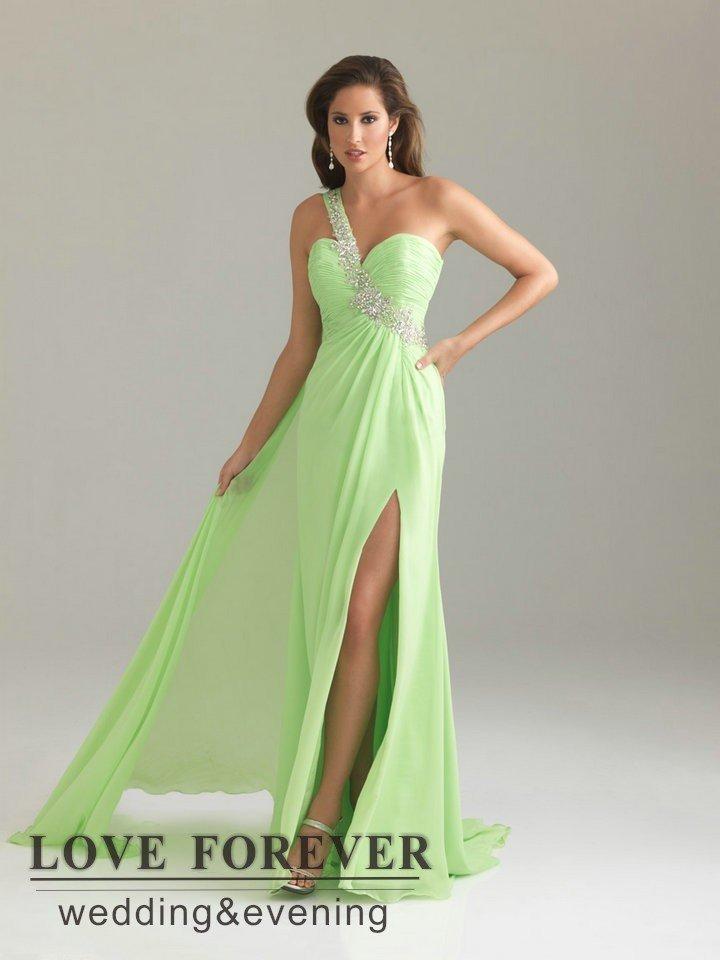One Shoulder White Purple Green Chiffon Cheap Maternity Prom ...