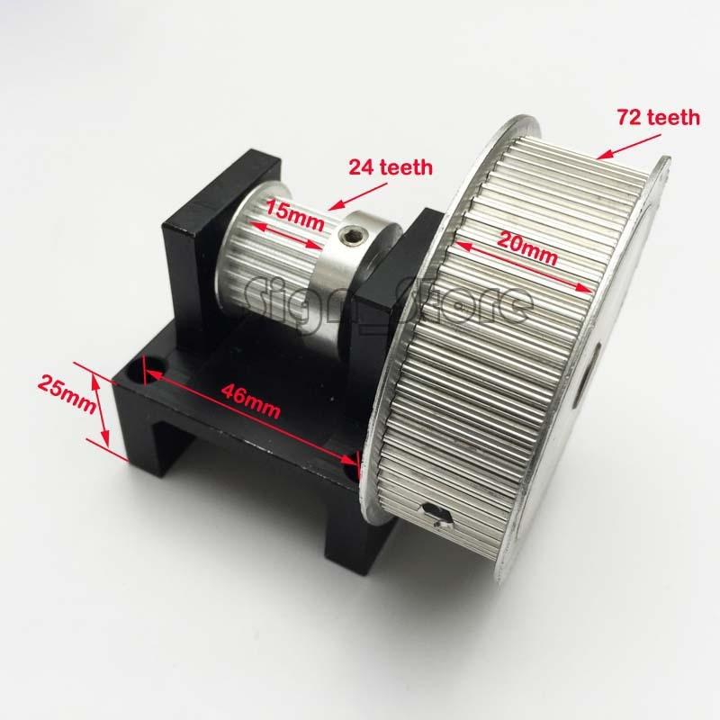 3:1 Timing Belt Stepper Motor Pulley Teeth (24:72) DIY Laser Engraver Cutter toothed belt drive motorized stepper motor precision guide rail manufacturer guideway