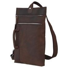 2017 Handmade 100% Genuine Brown Shoulder Cross Body Messenger Bag Anti-Theft Unbalance Pack Band For Men 3099