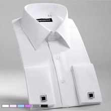 الرجال سليم صالح الفرنسية أزرار أكمام قميص غير الحديد طويلة الأكمام القطن الذكور سهرة قميص رسمي رجالي اللباس قمصان مع الفرنسية الأصفاد