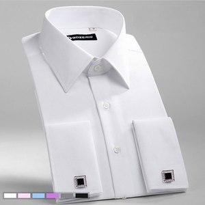 Image 1 - גברים של Slim Fit צרפתית חפתים חולצה ללא ברזל ארוך שרוול כותנה זכר טוקסידו חולצת פורמליות חולצות גברים עם צרפתית חפתים