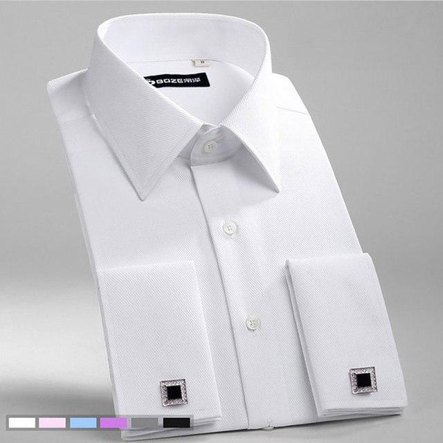 גברים של Slim Fit צרפתית חפתים חולצה ללא ברזל ארוך שרוול כותנה זכר טוקסידו חולצת פורמליות חולצות גברים עם צרפתית חפתים