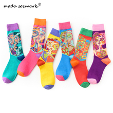 Moda Socmark Brand Happy Socks Men Women Harajuku Oil Painting Character Funny Cotton 2019 Colorful Casual Male