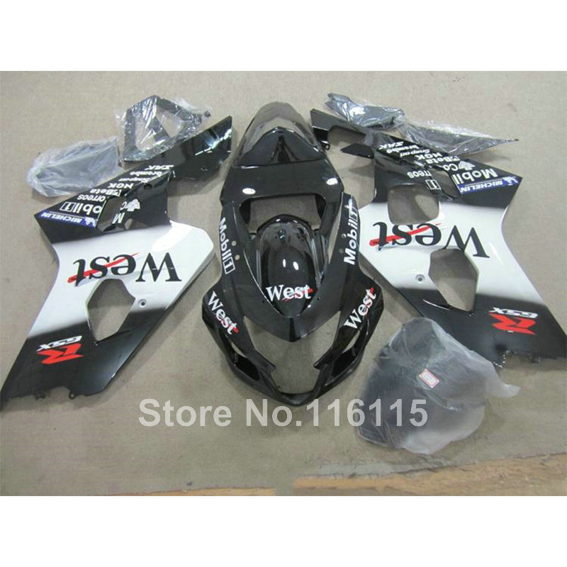ABS Motorcycle parts for SUZUKI GSXR600 K4 K5 2004 2005 black white West fairing kit GSXR 600 GSX-R 750 04 05 fairings TY50 motorcycle fairing kit for suzuki gsxr600 k4 k5 2004 2005 black yellow gsxr 600 gsx r 750 04 05 fairings ty38