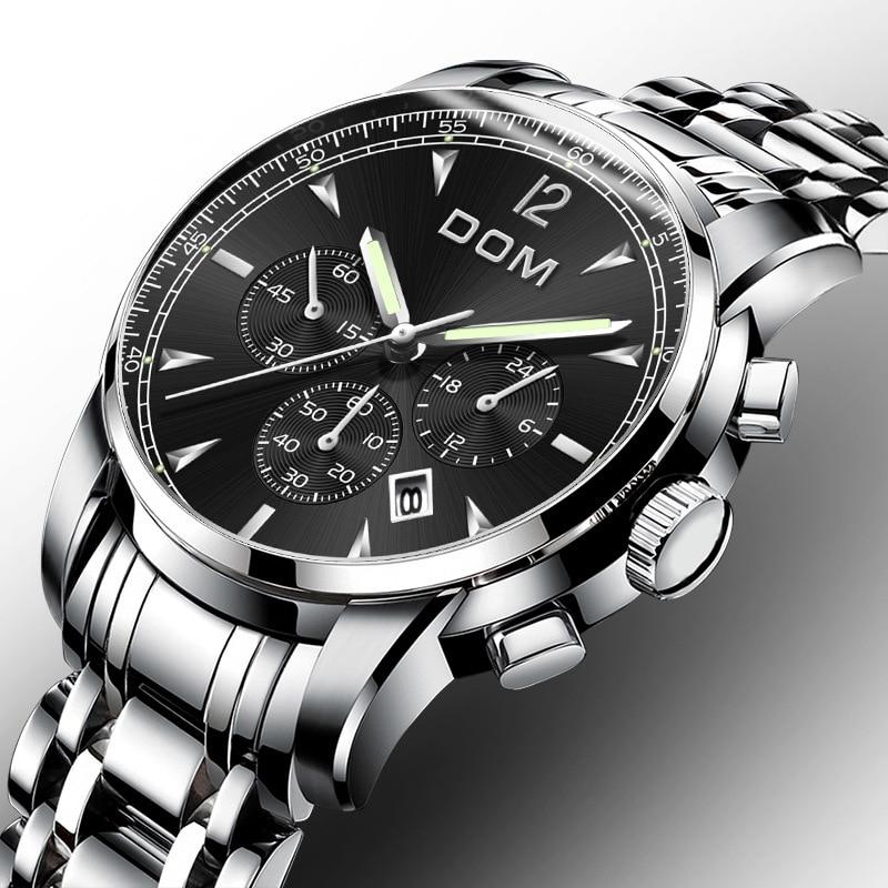 2019 Men's Business Watch Waterproof Stainless Steel Chronograph Wrist Watches Men Luminous Wristwatch Clock Calendar Quartz Watches     - title=