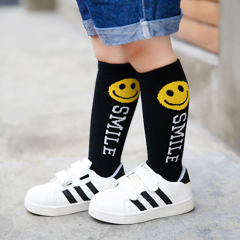 Kids Knee High Socks For Girls Boys Funny art printing Cotton Sports White Socks Skate Children Long Tube Leg Warm 14-641