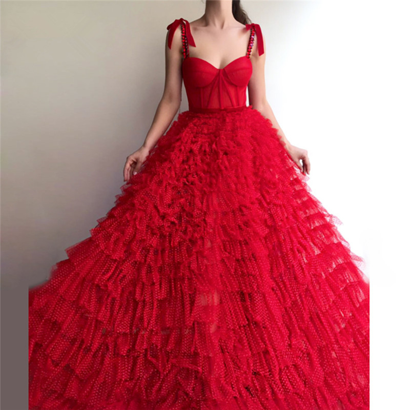 Red Muslim   Evening     Dresses   2019 Ball Gown Spaghetti Straps Tulle Crystals Islamic Dubai Saudi Arabic Long Formal   Evening   Gown
