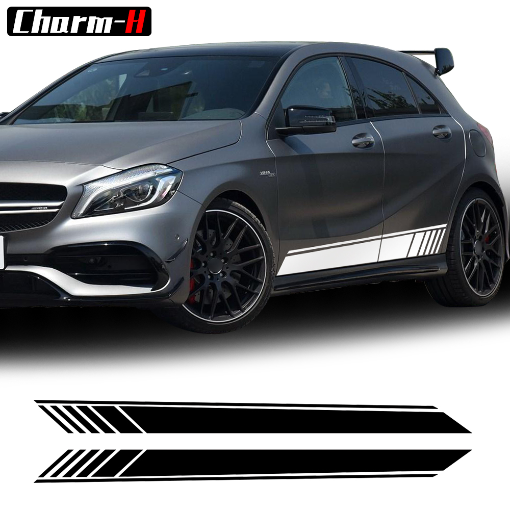 2018 New Edition 1 Style Side Skirt Racing Stripe Vinyl Decal Stickers for Mercedes Benz W176 A Class A180 A200 A250 A45 AMG maserati granturismo carbon spoiler