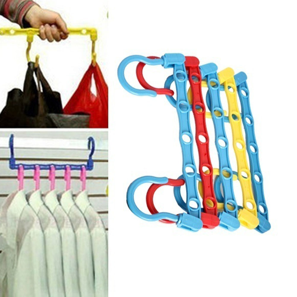 5 Pcs Useful 5-Hole Space Saver Wonder Magic Hanger Hook Closet Organizer  [FH] [NF] BS