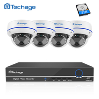 Techage 4CH 1080P CCTV System Full HD POE NVR Kit 4PCS Indoor Dome Vandalproof Security IP