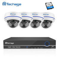 Techage 4CH 1080P CCTV System POE NVR Kit 4PCS Indoor Dome Vandalproof Anti Vandal IP Camera