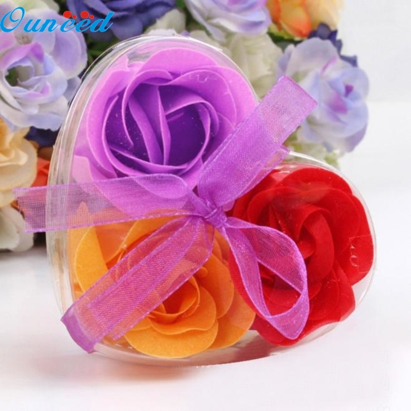 цена на Ouneed Happy Home 3Pcs Scented Rose Flower Petal Bath Body Soap Wedding Party Gift