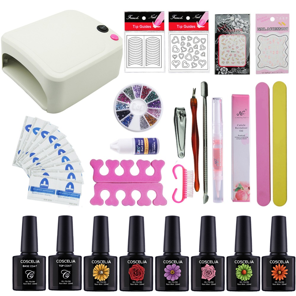 Gel Polish Nail Art Tools Kits 36W UV LED Nail Dryer Lamps UV Gel Polish Polish Gel Manicure Machine Set Nail File Remover Tools full uv gel nail art nail polish 36w nail uv lamp dryer tools eu plug set