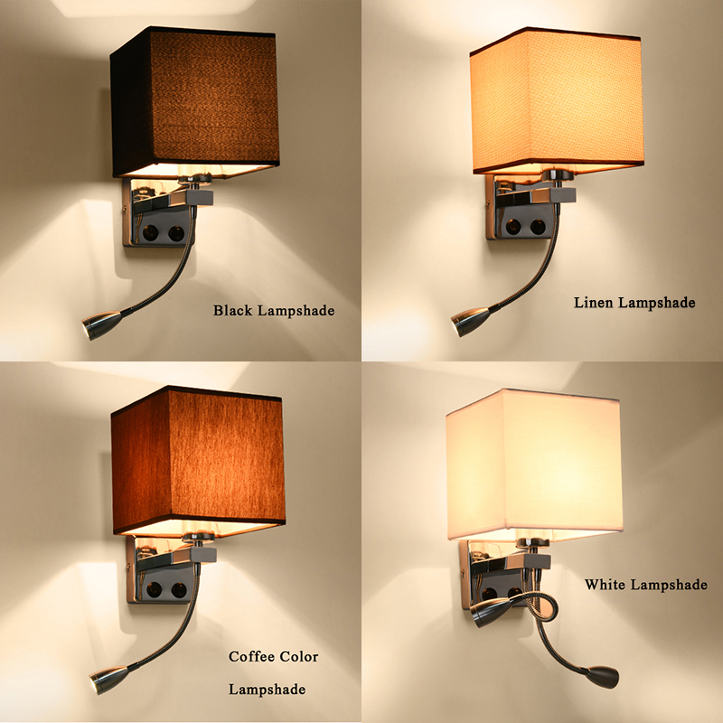 Modern wall sconce with switch wall bed lamps 1 or 2 pcs 1w led reading light hose rocker arm Reading lighting fabric lampshadeModern wall sconce with switch wall bed lamps 1 or 2 pcs 1w led reading light hose rocker arm Reading lighting fabric lampshade