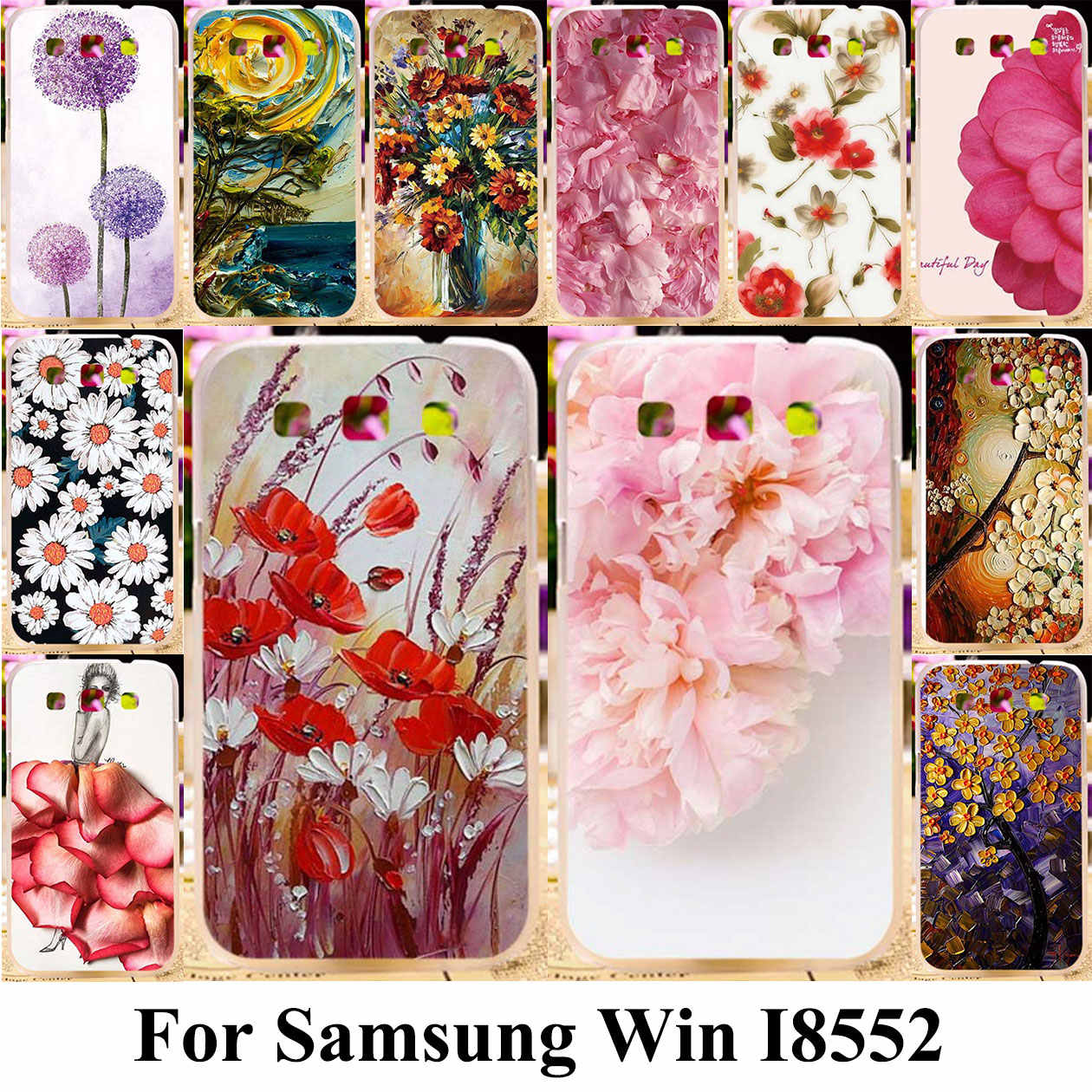 TPU Silicone Plastic Phone Cover Case For Samsung Galaxy Win I8552 Cases GT-i8552 GT i8550 i8558 8552 Painted  Bags
