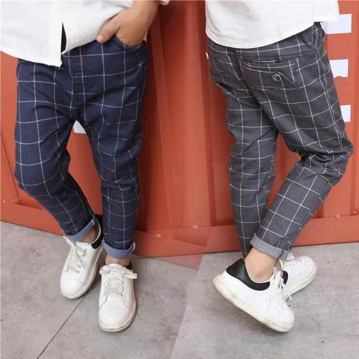 New Kids Clothes Autumn Spring Boys Casual Plaid Pants Elastic Waist School Children Full Length Trousers Fashion Big Boys Pants