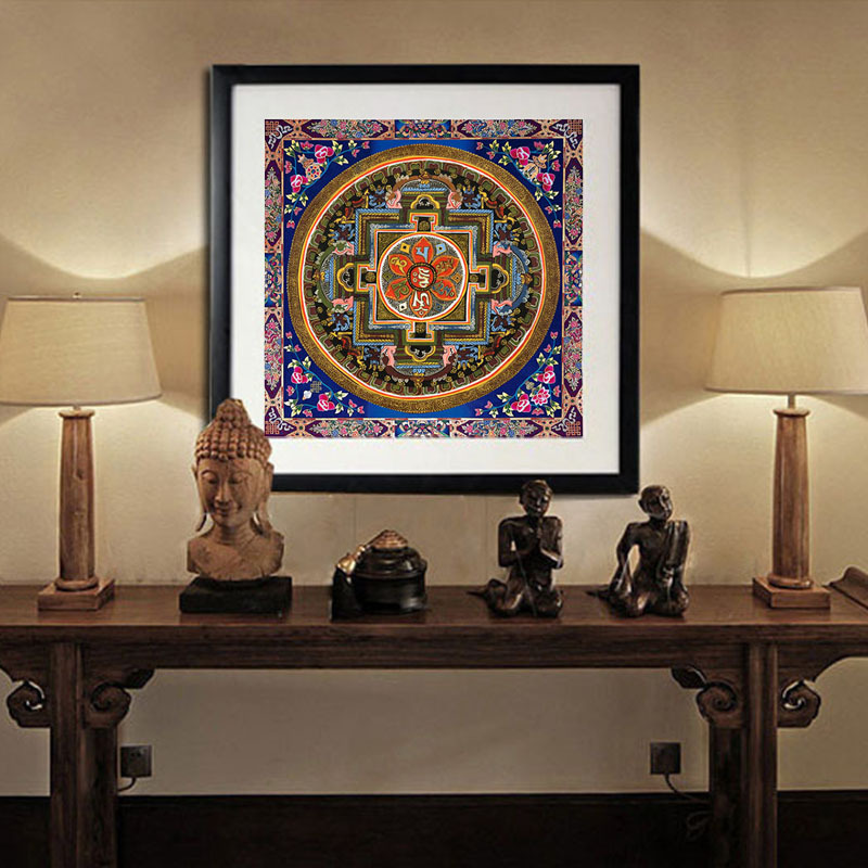 Framelessoil Paintings Canvas Colorful Buddha Sitting Wall: Thangka Painting Reviews