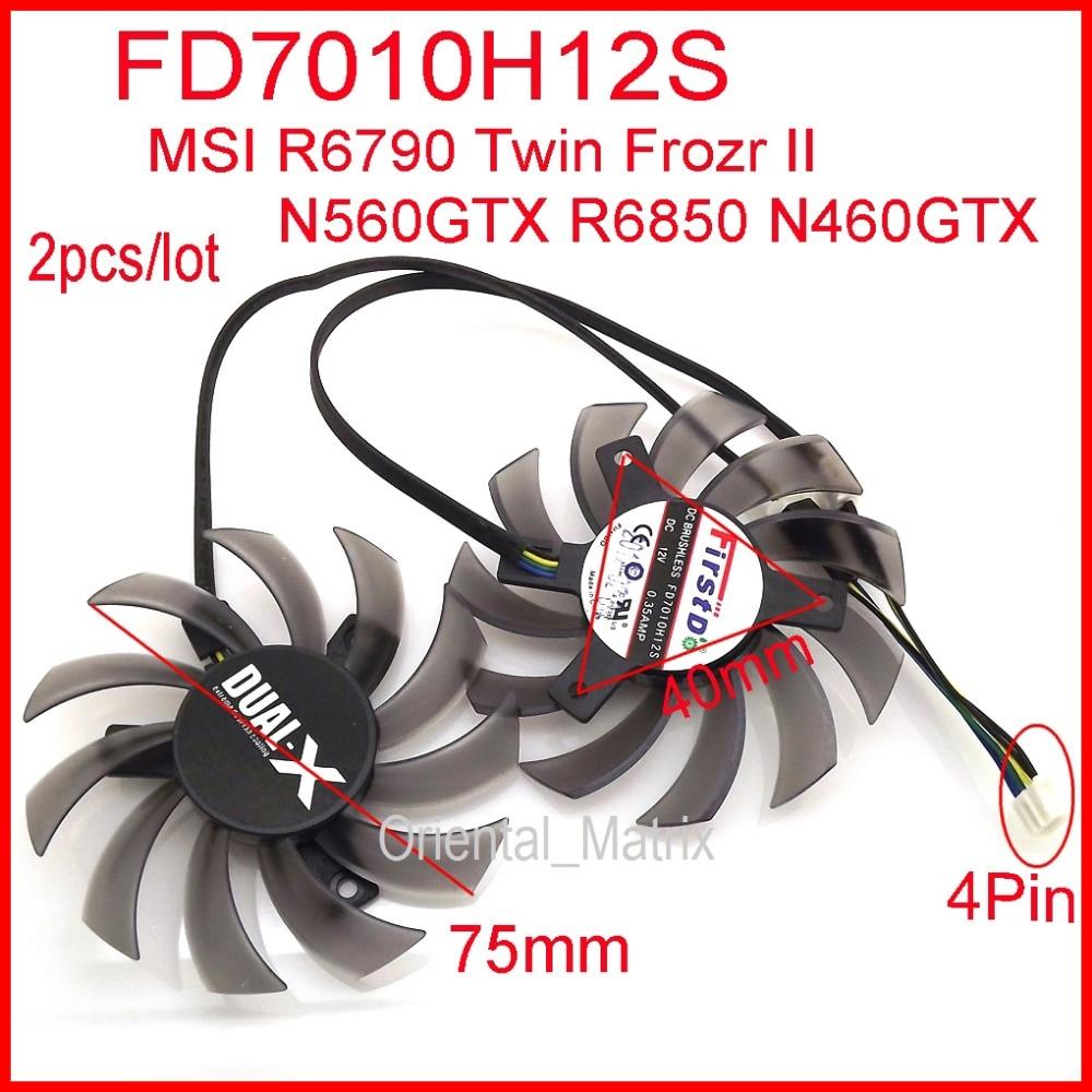 Free Shipping 2pcs/lot Firstdo FD7010H12S 75mm DC12V 0.35A For MSI N560GTX R6790 R6850 N460GTX Twin Frozr II Graphics Card Fan