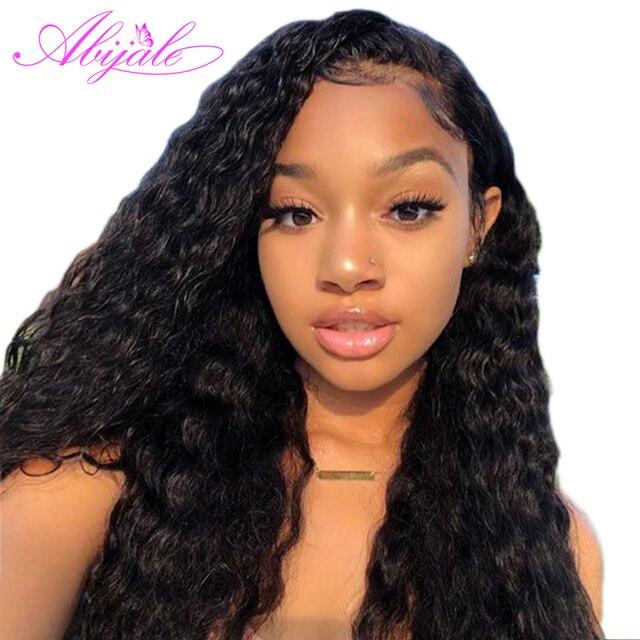 Pelucas de pelo humano de encaje Abijale para mujeres negras Peluca de onda de agua con pelo de bebé 150% 13*4 profundo parte del pelo Remy