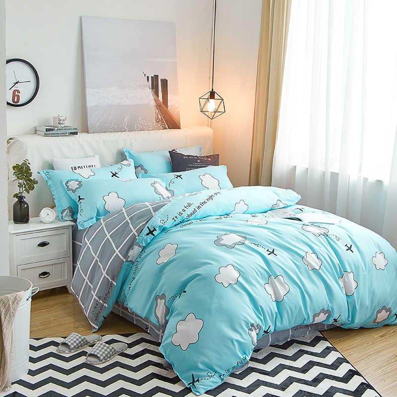 Постельное белье с рисунком из мультфильма, белое облако и бумажный самолет, Комплект постельного белья для детей, для мальчиков, Синий пододеяльник, простыни, наволочки, постельное белье