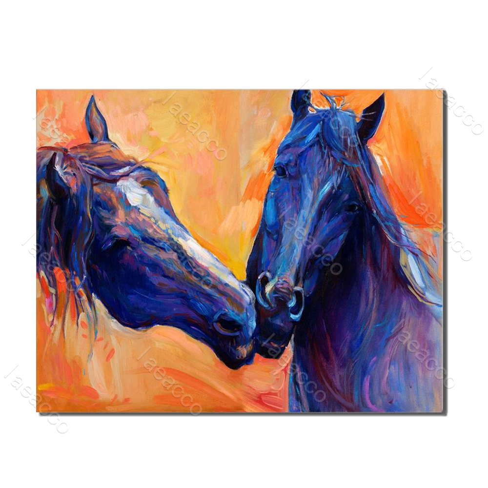 Laeacco Animal Posters and Prints Watercolor House Wall Artwork Canvas Painting For Home Living Room Decoration