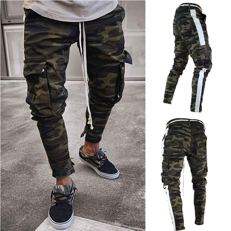 2019 spring and summer men's multi-pocket fashion high street elastic Slim feet   jeans   side ribbon camouflage   jeans
