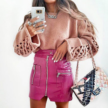 Short Zipper saia cintura alta PU Package Skirt Half-body skirts womens clothes faldas mujer mini streetwear saia couro moda new 2015 2 clubwear saia