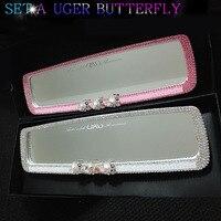 1pcs Car Rear View Mirror Fashion Diamond Crystal Car Interior Rearview Mirror Decoration Car Mirror for Girls Auto Accessories
