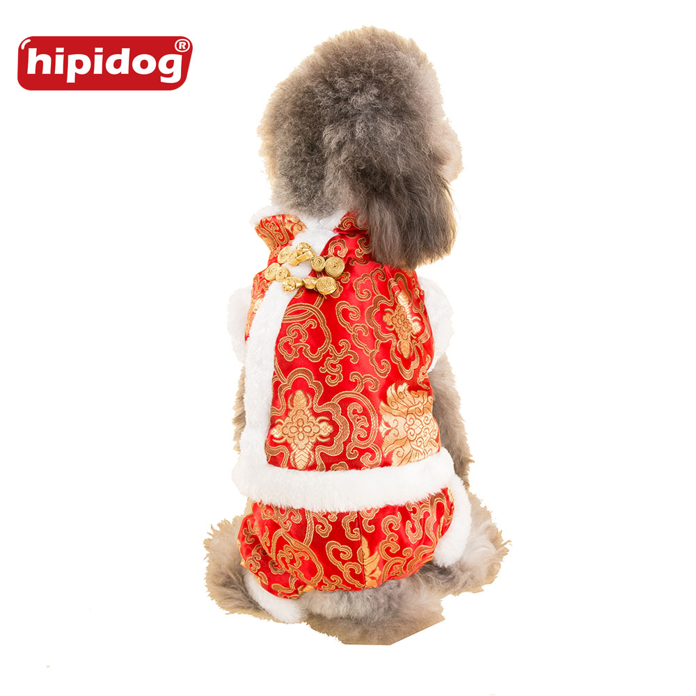Hipidog Chinese Traditional Tang Suit Coat Jumpsuit Autumn Winter Warm Clothes for Cat Small Dog Chihuahua Teddy Parkas Overalls