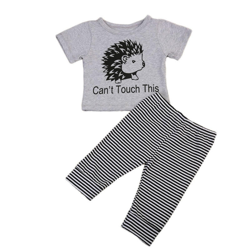 Summer New Cartoon Newborn Baby Boy Girl Print Short Sleeve Clothes Animal T-shirt Long Striped Pants 2pcs Outfits Cotton Set