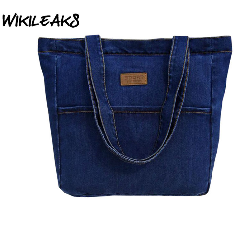 women's handbags Denim Large Shoulder Bags for Women Totes Casual Handbag Female Large Capacity Bag Bolsa Feminina Blue h081 forudesigns casual women handbags peacock feather printed shopping bag large capacity ladies handbags vintage bolsa feminina