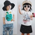 BBK 2017 New Summer t shirts for baby boys Apple Letter pattern girls short sleeve shirt cotton t-shirt fashion kids clothes