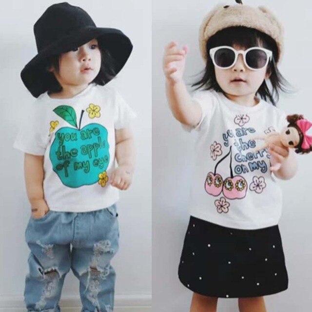 BBK 2017 New Summer t shirts for baby boys Apple Letter pattern girls short sleeve shirt cotton t-shirt fashion kids clothes