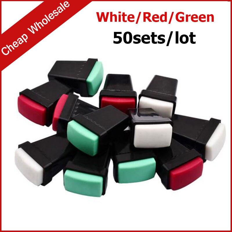 (förderung) 50 Sets Nail Art Polnischen Stamper Schaber Set Maniküre Werkzeuge (grün/rot/weiß 3 Farben Optionen)