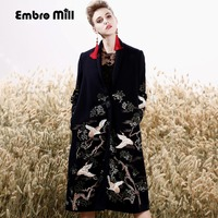 High End Winter Trench Coats For Women Vintage Elegant Floral Woolen Embroidery Loose Lady Red Christmas
