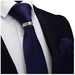 Image 3 - GUSLESON Yeni Tasarımcı Katı Düz Erkek Kravat Cep Kare Kravat Toka Seti Kırmızı Sarı Yeşil ipek kravatlar Takım Elbise Düğün Iş